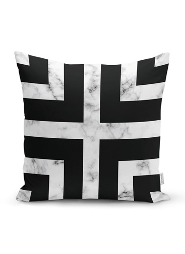 Real Homes Mermer Zeminli Siyah Geometrik Desenli Modern Yastık Kırlent Kılıfı Renkli